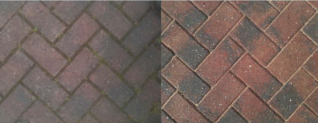 Decking Drive Patio Cleaning Moreton-in-Marsh Gloucs - BLOCK PAVING CLEANING - BEFORE & AFTER