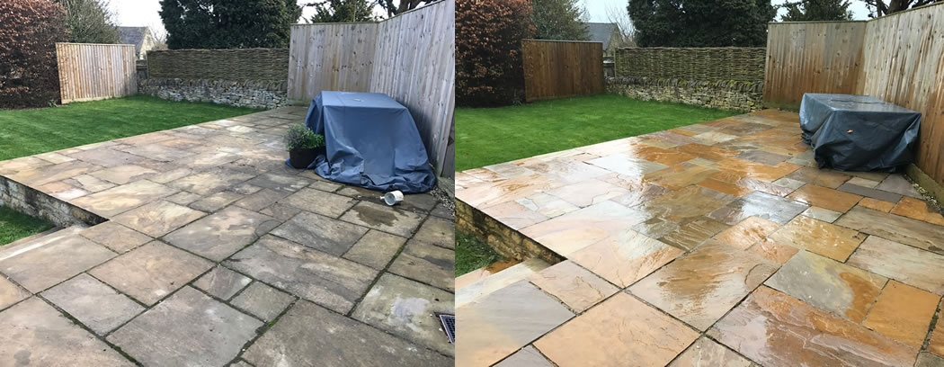Decking Drive Patio Cleaning Moreton-in-Marsh Gloucs - PATIO CLEANING - BEFORE & AFTER